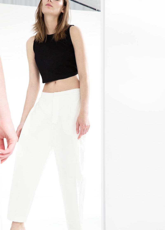 MANGO PREMIUM Cotton Linen-blend Trousers