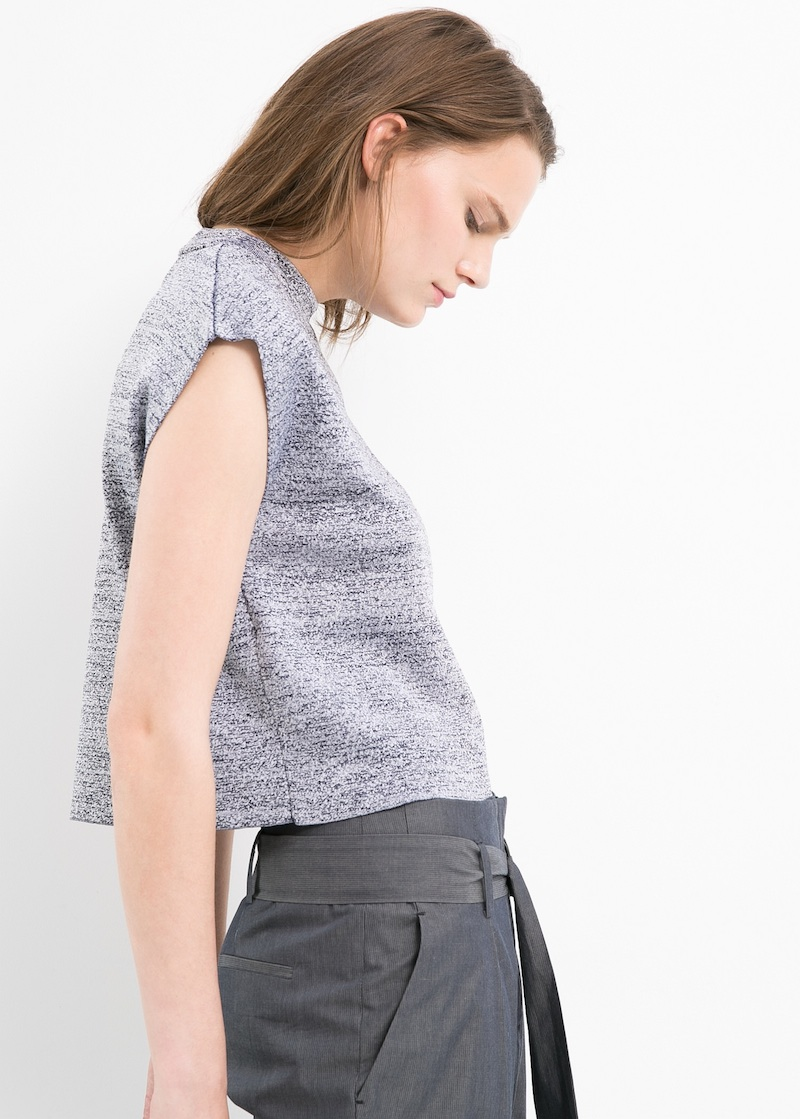 MANGO PREMIUM Flecked Cropped Sweater
