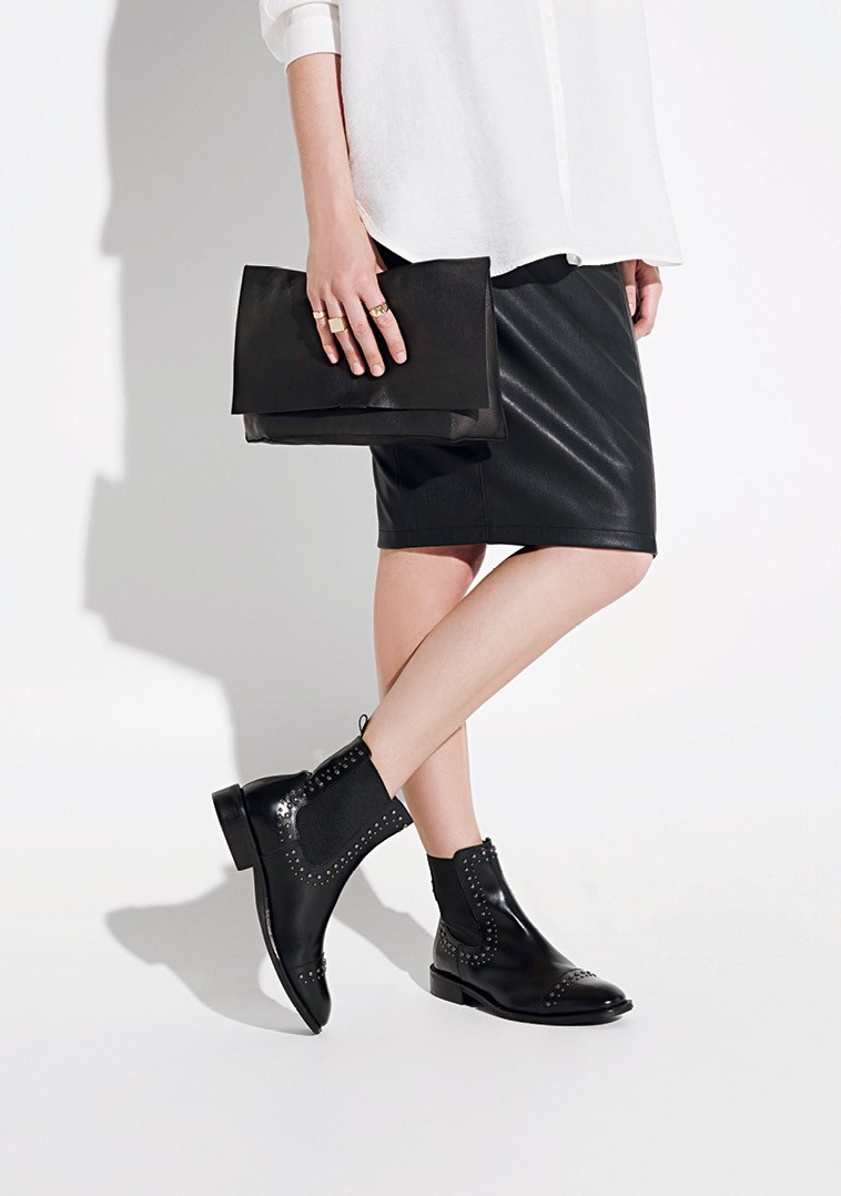 MANGO Studded Leather Ankle Boots