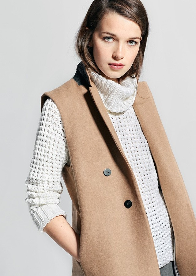 MANGO Wool Long Gilet