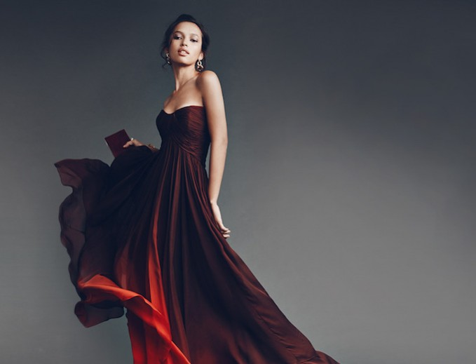 Monique Lhuillier Silk Chiffon Strapless High-Low Gown