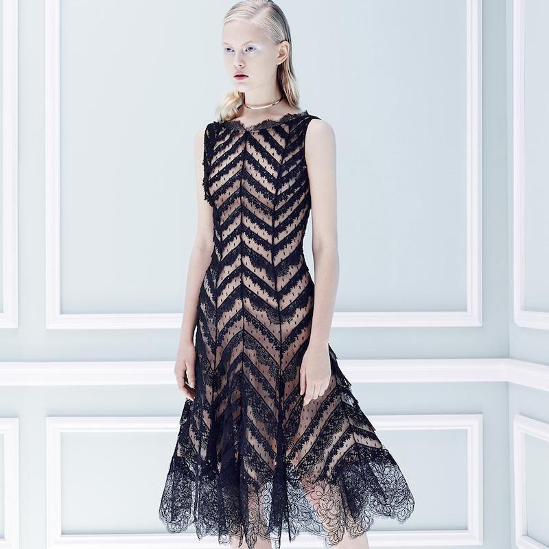 Oscar de la Renta Flared Lace Dress