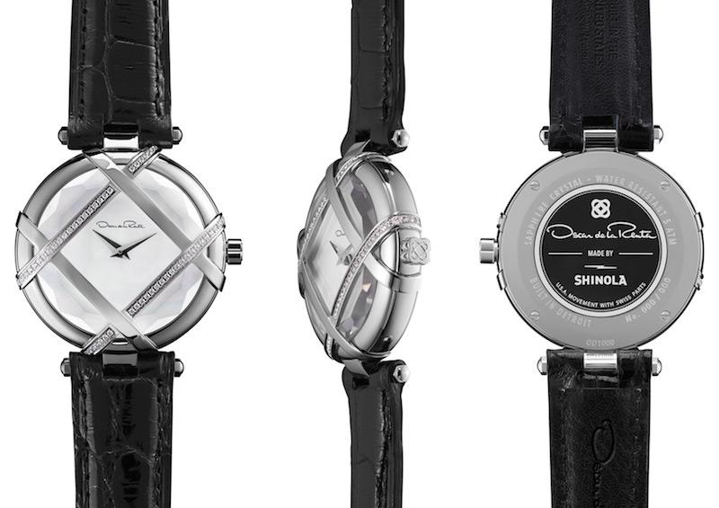 Oscar de la Renta Limited Edition Black Alligator Lattice Watch