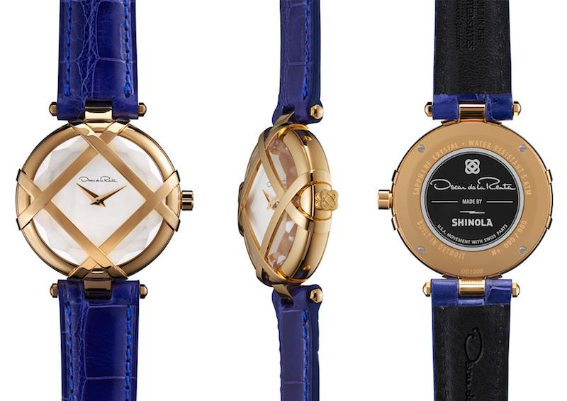 Oscar de la Renta Limited Edition Blue Alligator Lattice Watch