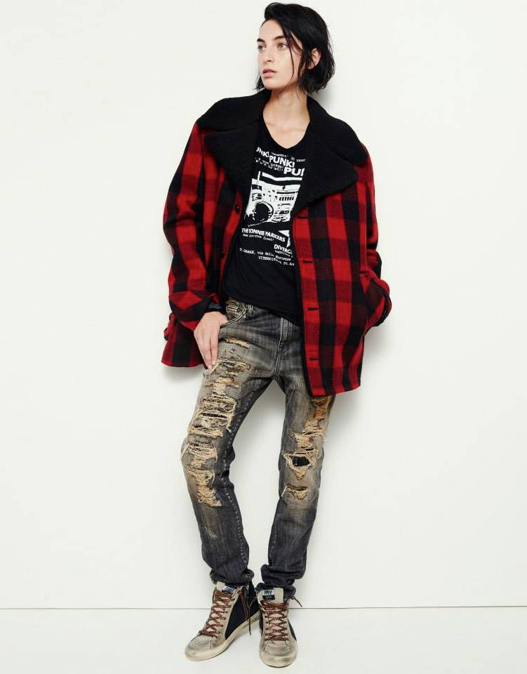 R13 Shearling-Lined Plaid Jacket