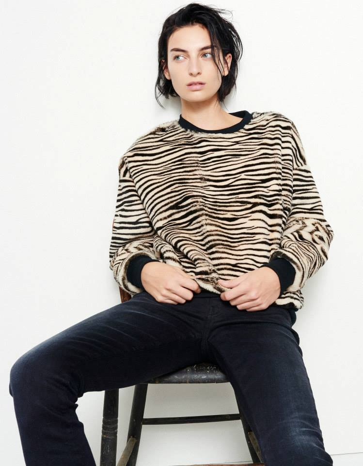 R13 Zebra-Print Fur Sweatshirt