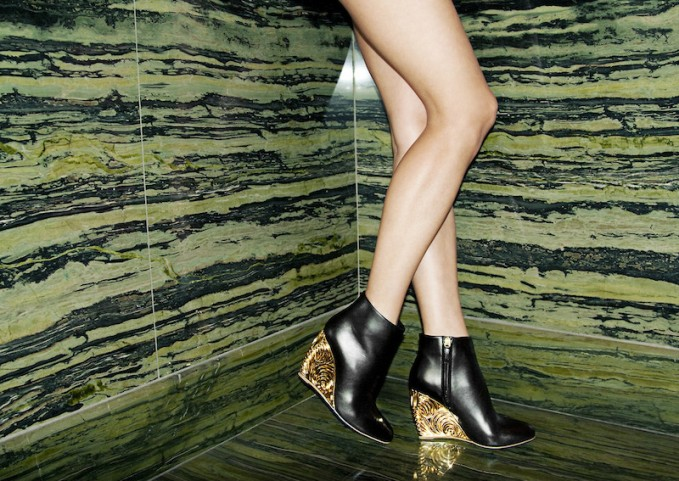 Rupert Sanderson Salome Lacquered Wedge Ankle Boots