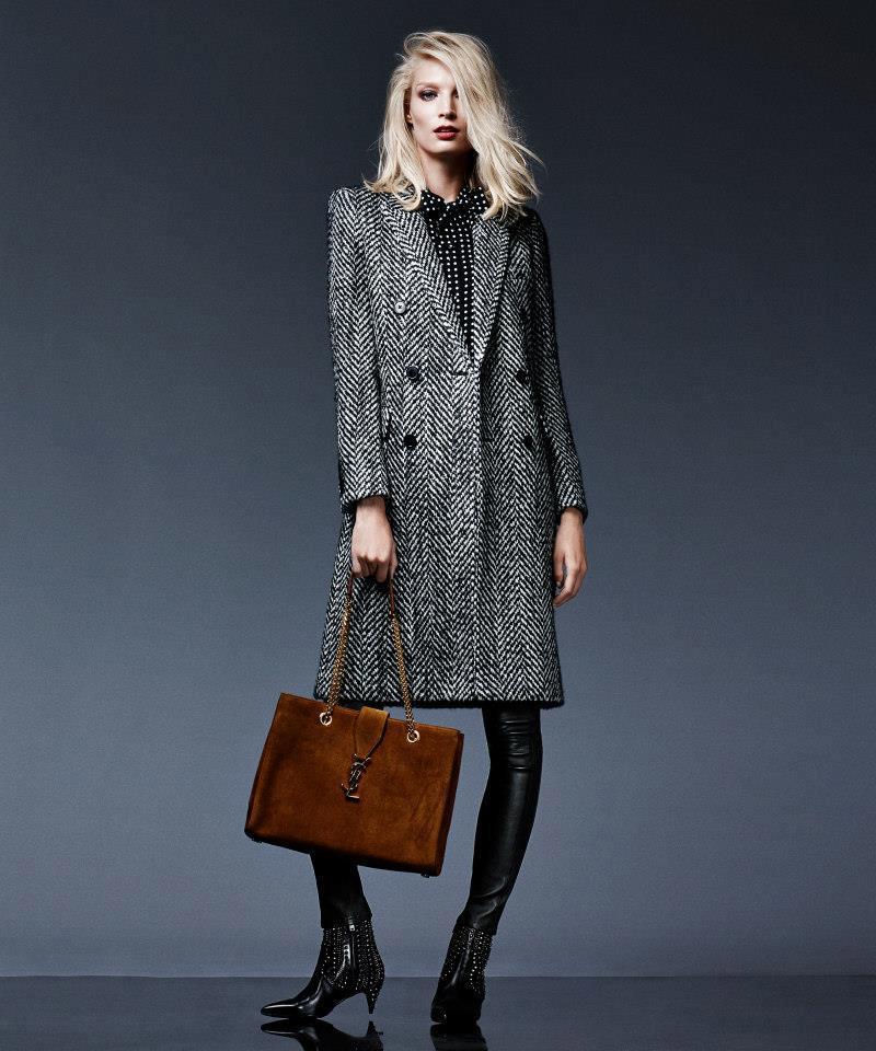 Saint Laurent Chevron Tweed Double-Breasted Coat