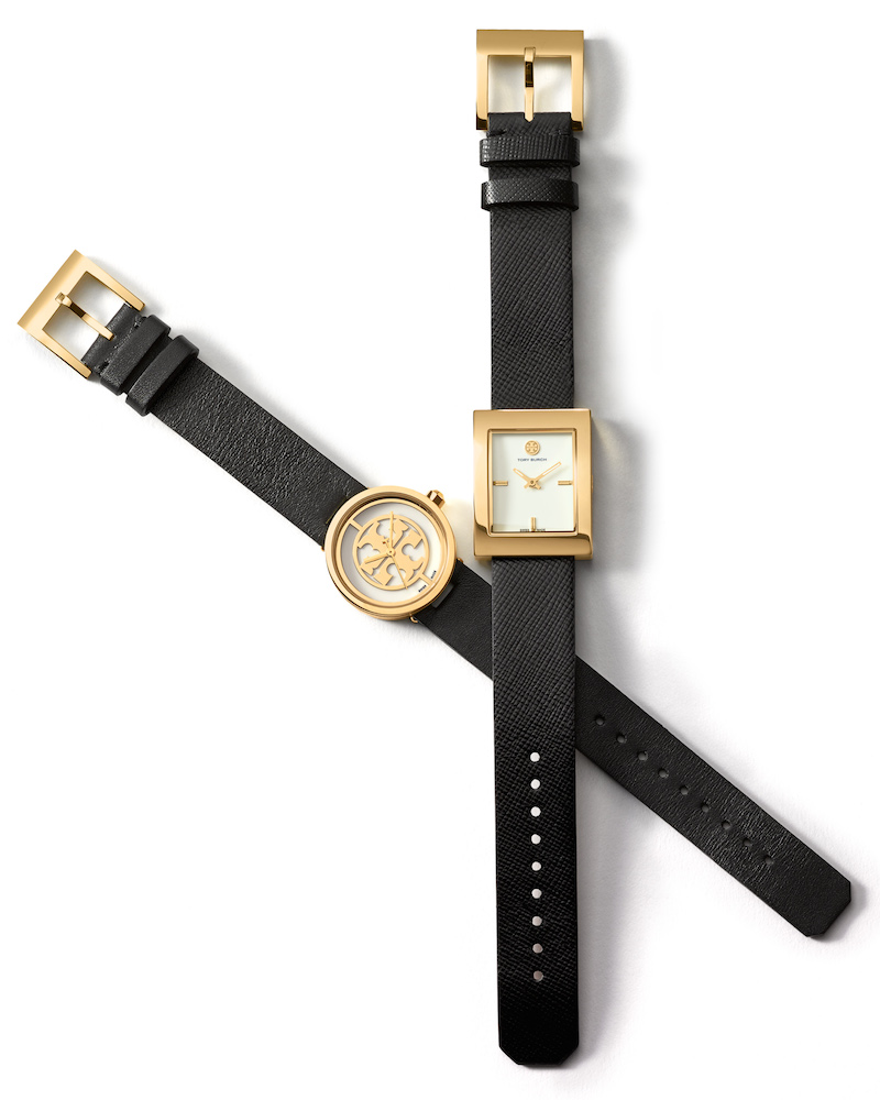 Tory Burch Buddy Classic Rectangle Dial With Leather Strap & Reva Logo Strap Leather Watch