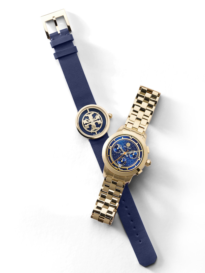Tory Burch Reva in Navy & Chronograph Bracelet Watch