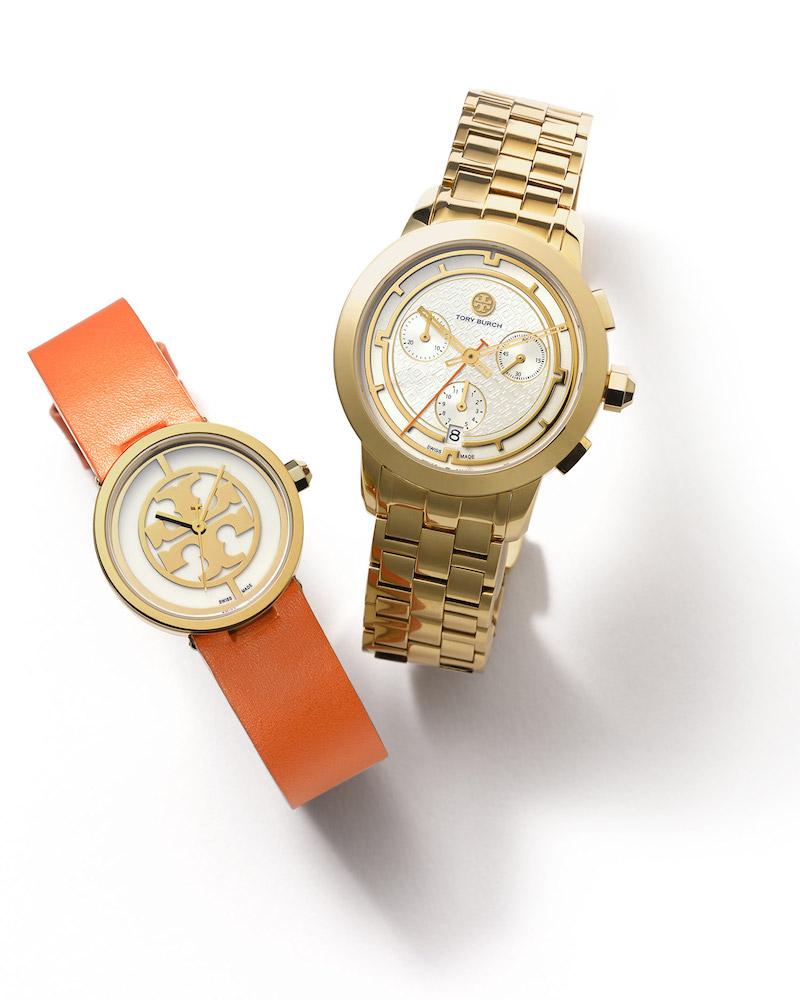 Tory Burch Reva in Orange & Small Tory Bracelet Watch in Gold