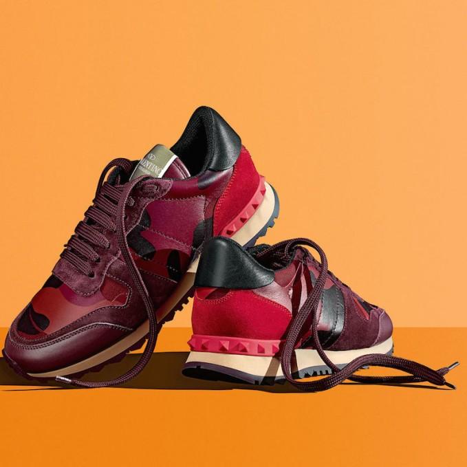 Valentino Rockstud Camo-Print Sneaker in Red