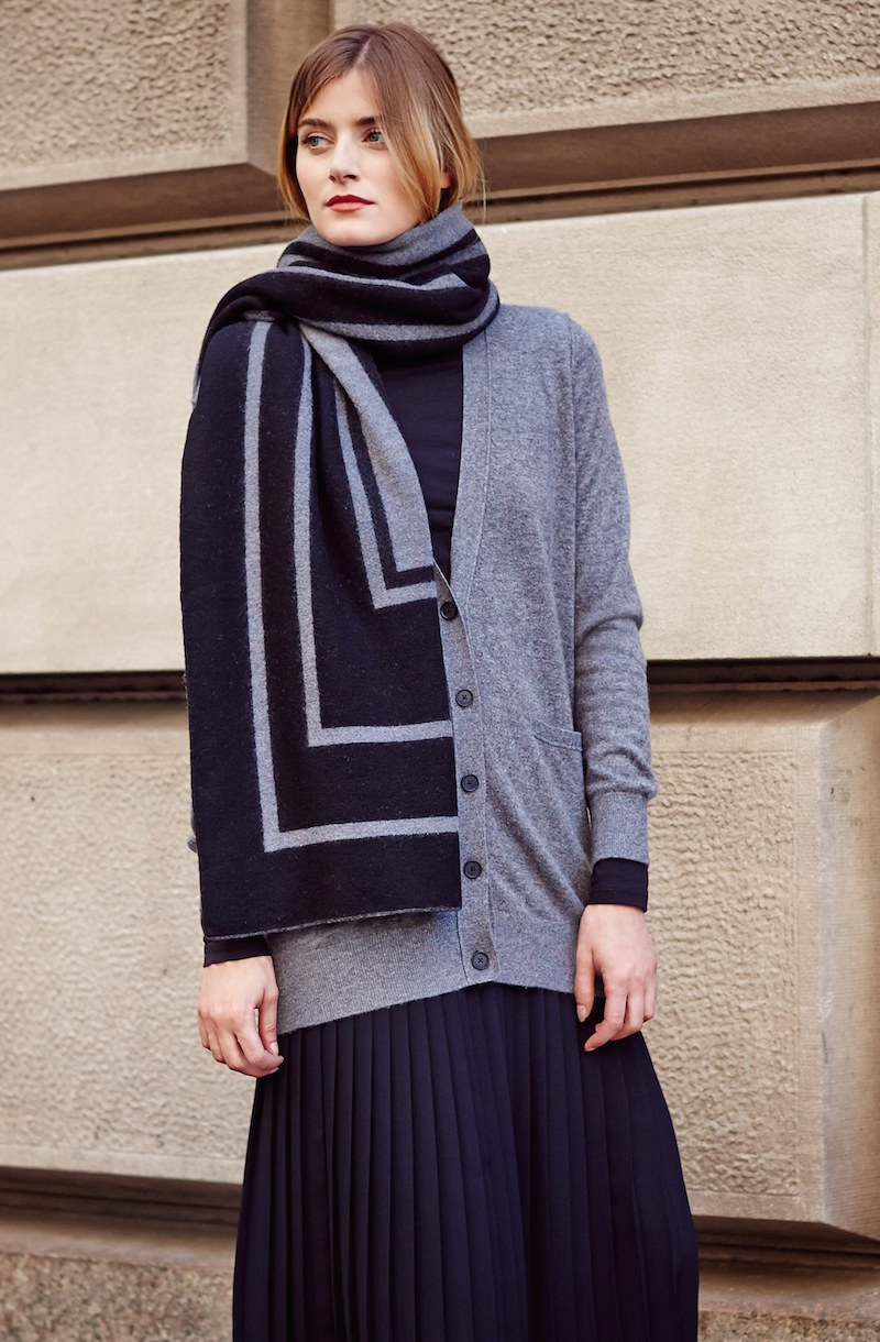 Vince Stripe Jacquard Wool Blanket Scarf