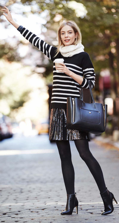 Ann Taylor Striped Mock Neck Sweater