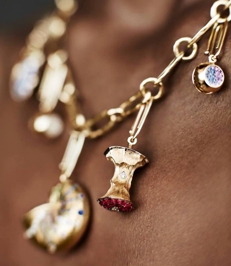 Aurélie Bidermann Fine Ruby, Champagne Diamond & Gold Big Apple Charm
