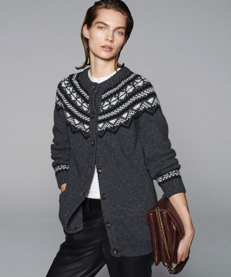 Barneys New York Intarsia-Knit Long Cardigan Sweater