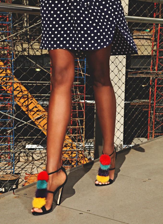 Brian Atwood Genie Suede & Mink Fur Sandals