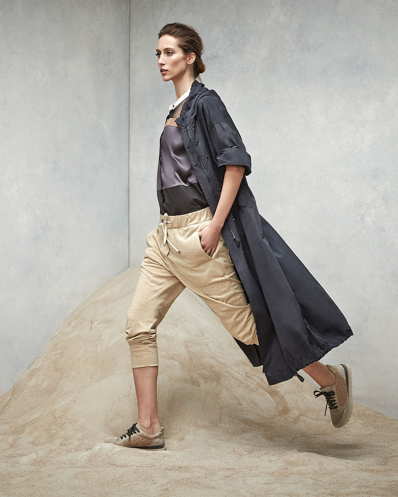 Brunello Cucinelli Hooded Dropped Sleeve Taffeta Jacket
