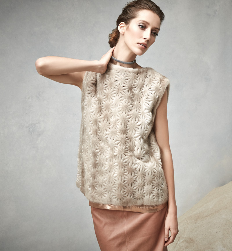 Brunello Cucinelli Perforated Flower Mink Fur Top