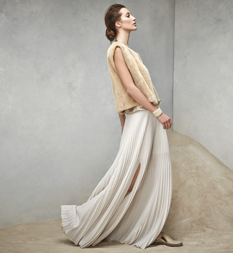 Brunello Cucinelli Pleated Pull-On Maxi Skirt