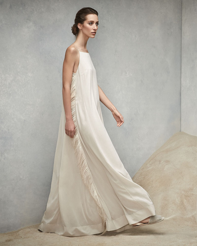 Brunello Cucinelli Strappy Gown w/ Ostrich Feather Sides