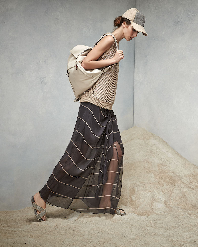 Brunello Cucinelli Striped Silk Sarong Skirt