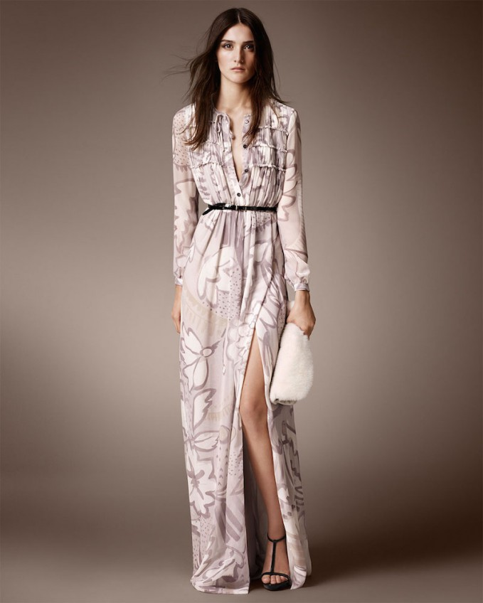 Burberry Prorsum Floral-Print Pleated Georgette Dress