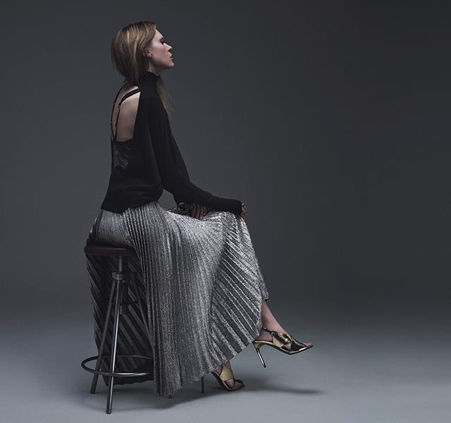 Cédric Charlier Pleated Crepe Lamé Skirt