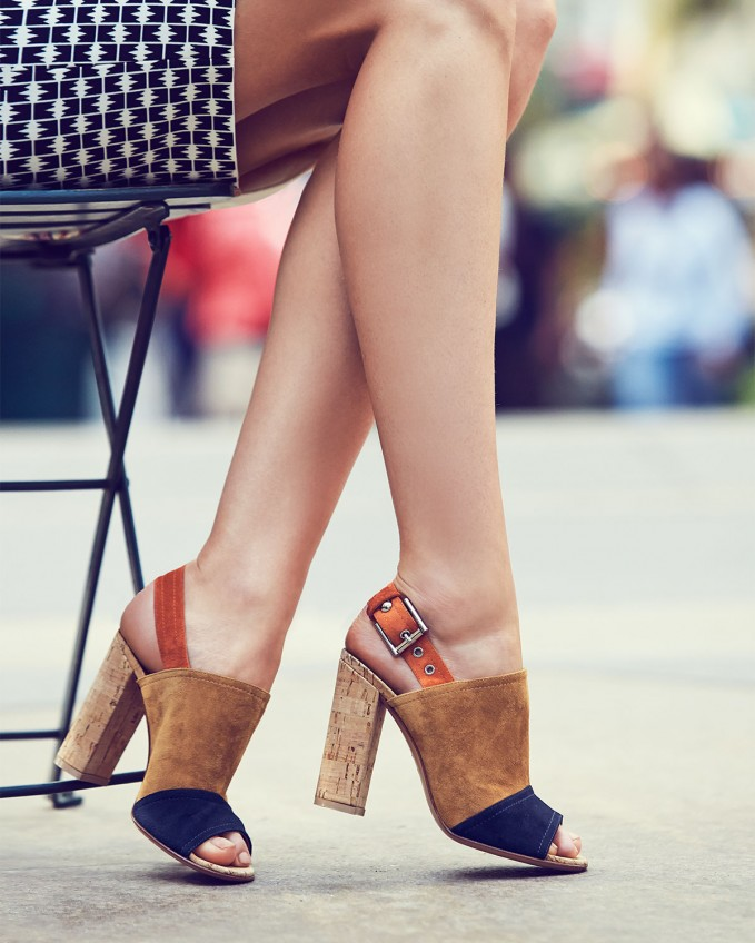 Gianvito Rossi Colorblock Suede & Cork Slingback Sandal