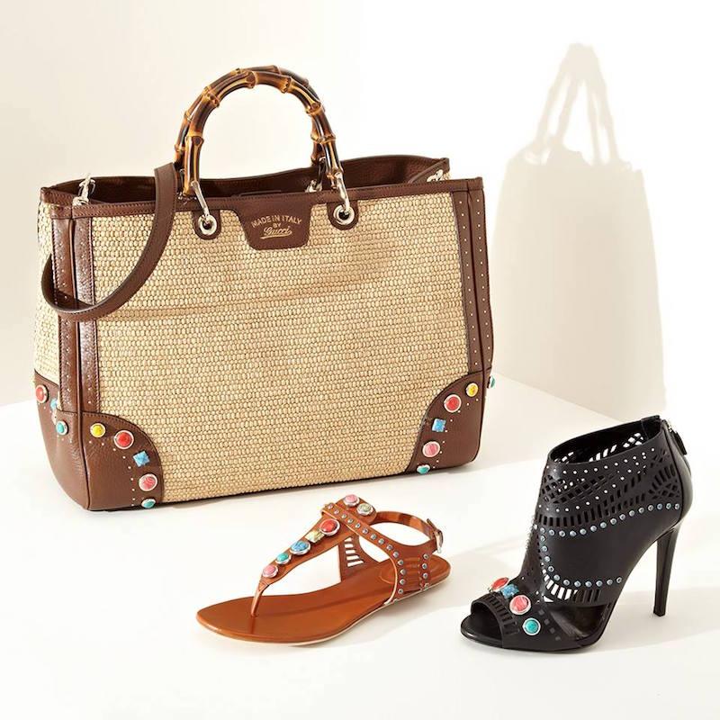 Gucci Lika Stone Peep-Toe Ankle Boots