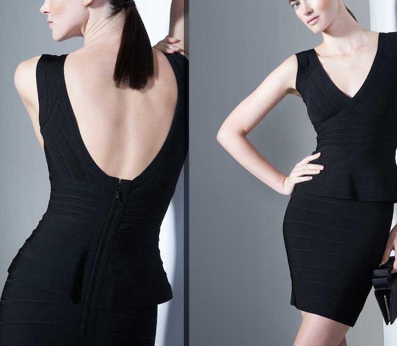 Herve Leger Essential V-Neck Peplum Dress_1