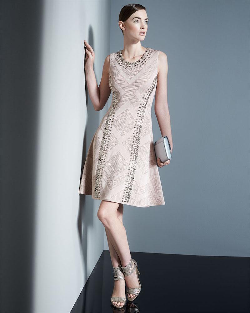 Herve Leger Jaclyn Textured Chain-Trim Dress