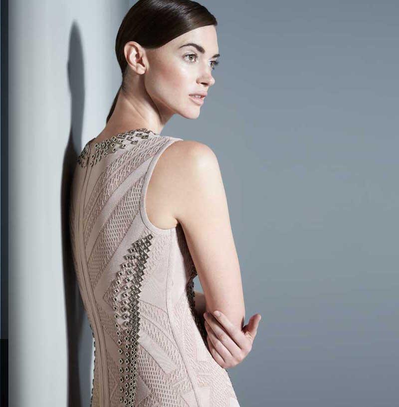 Herve Leger Jaclyn Textured Chain-Trim Dress_1