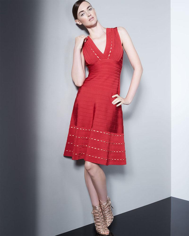 Herve Leger Kyra Eyelet-Trim Dress