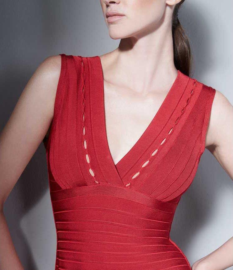Herve Leger Kyra Eyelet-Trim Dress_1