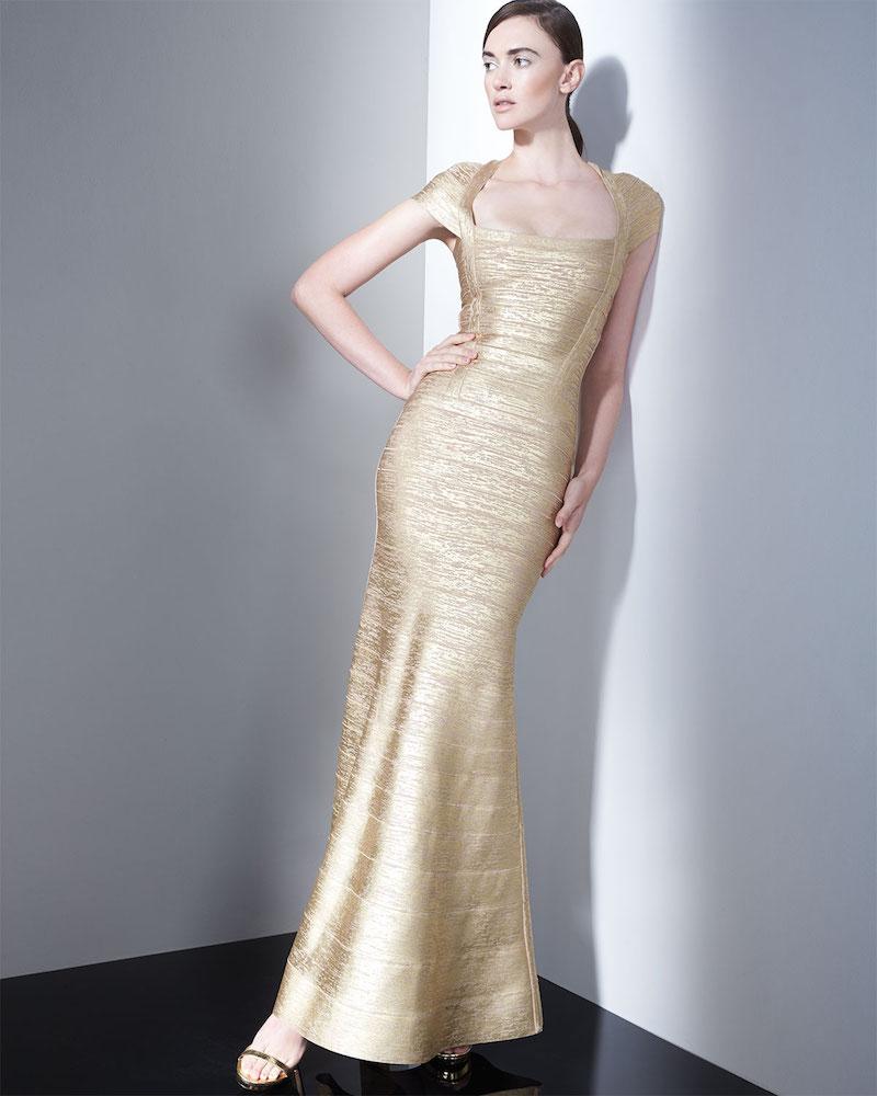Herve Leger Lora Woodgrain Foil-Print Bandage Gown