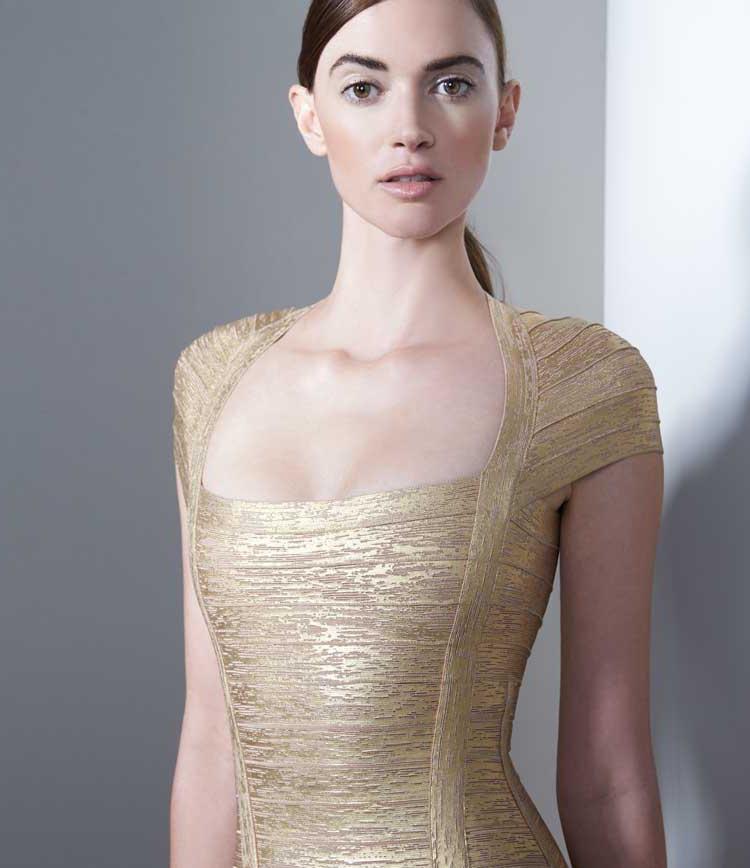 Herve Leger Lora Woodgrain Foil-Print Bandage Gown_1