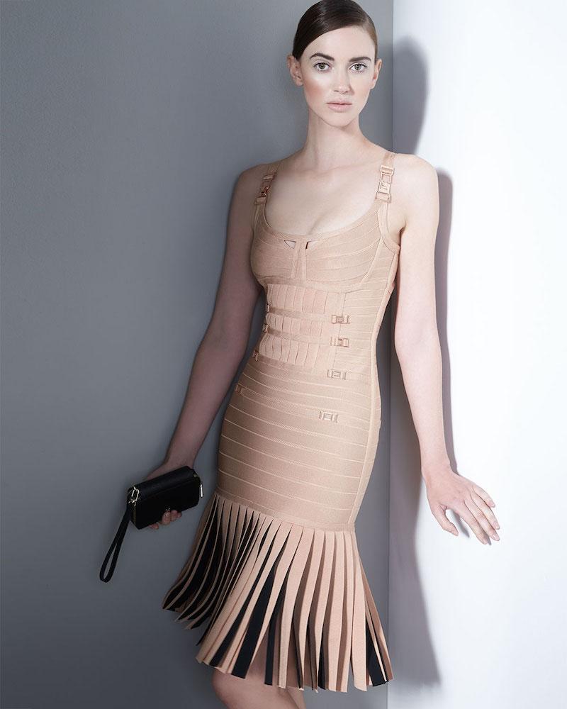 Herve Leger Milena Pleated Bandage Dress