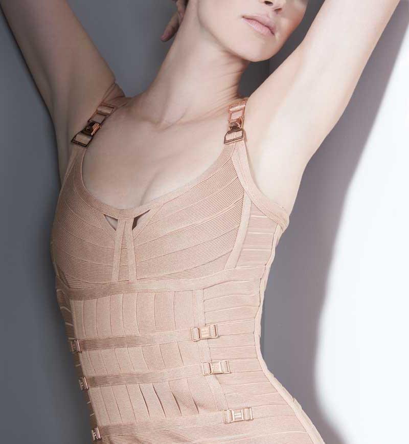 Herve Leger Milena Pleated Bandage Dress_1