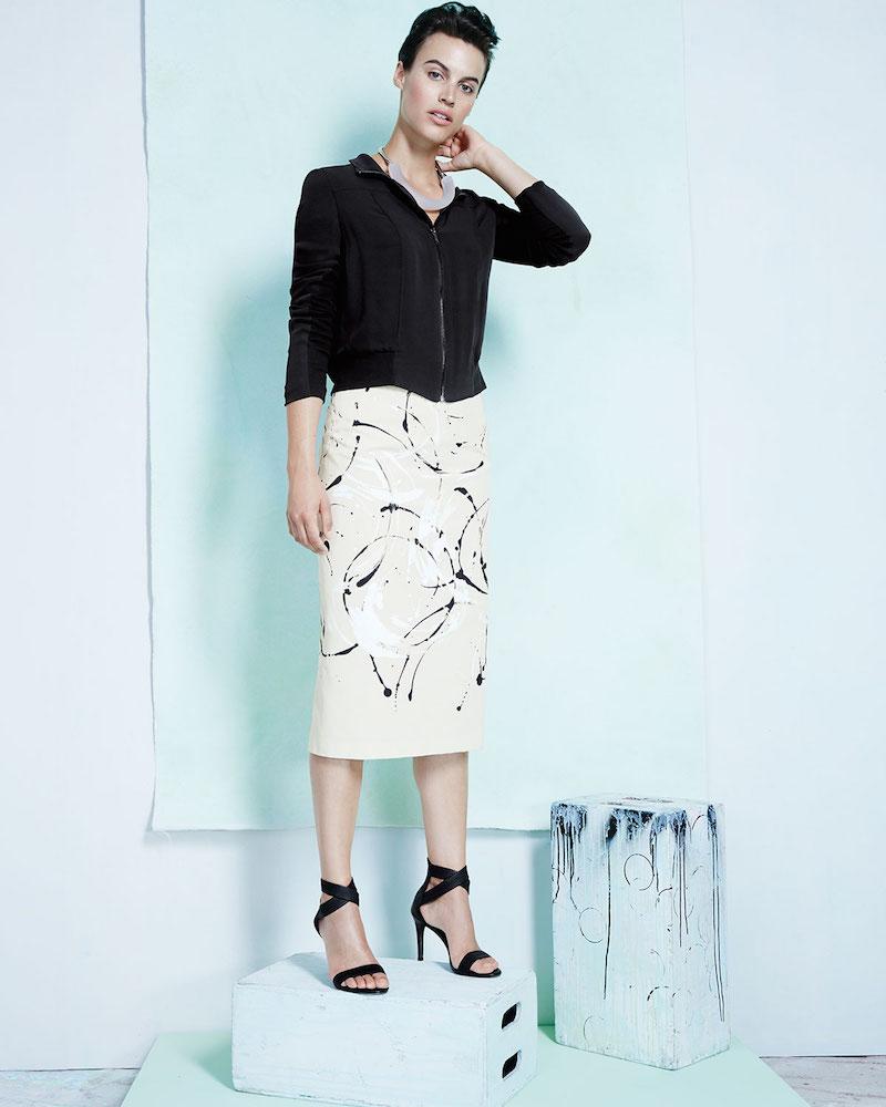 Lafayette 148 New York Priscilla Splatter-Print Knit Skirt