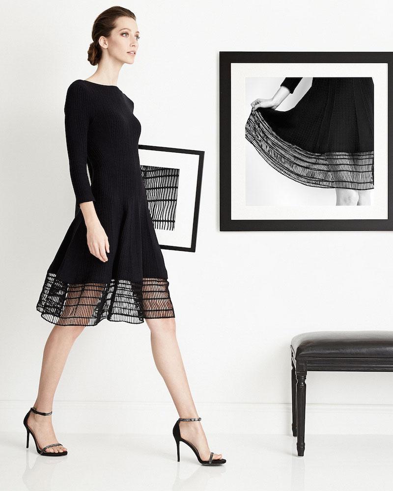 Lela Rose 3/4-Sleeve Dress W/ Railroad Lace Hem