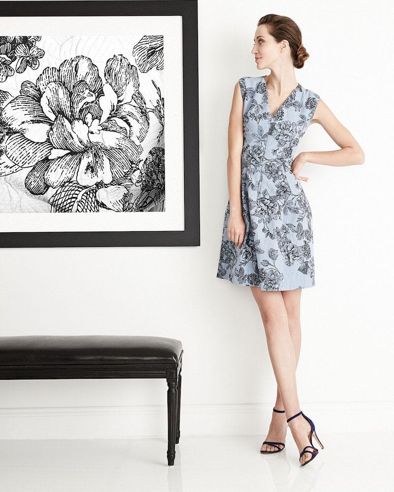 Lela Rose Floral Dress with Hidden Zip Front