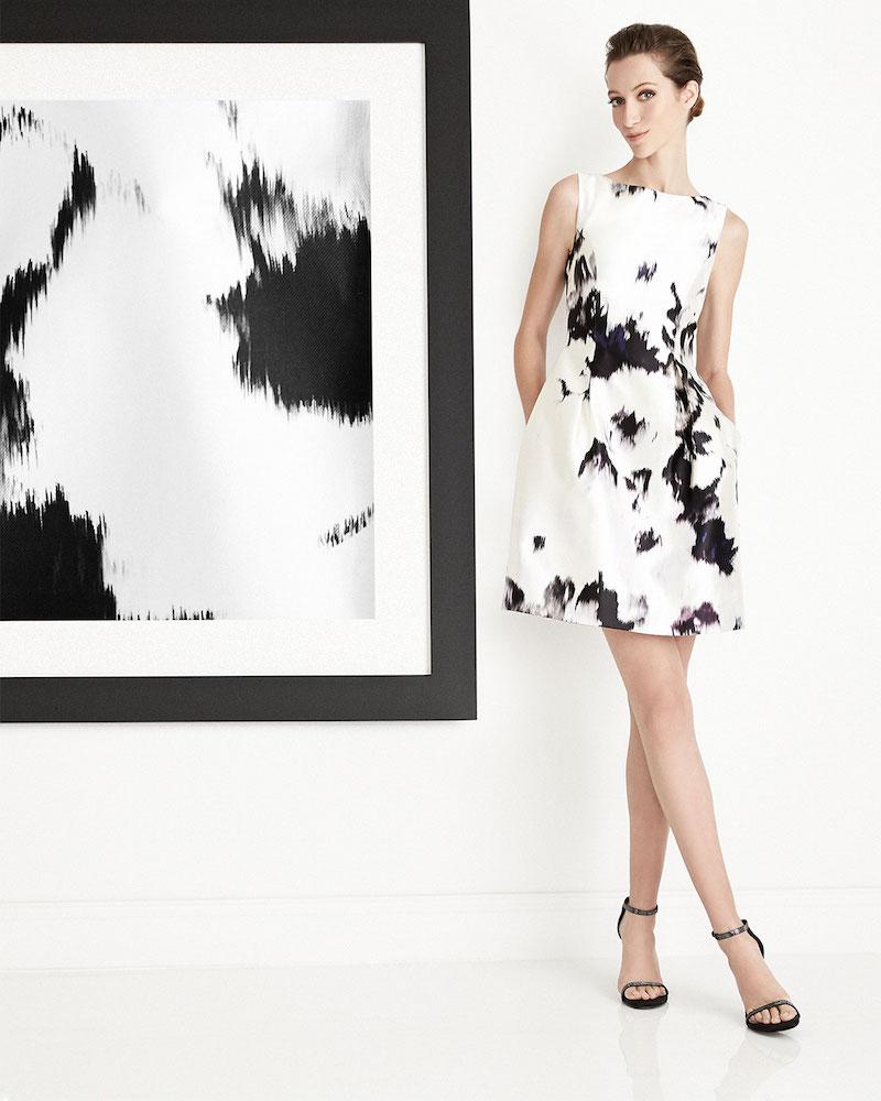 Lela Rose Watercolor Silk Sheath Dress