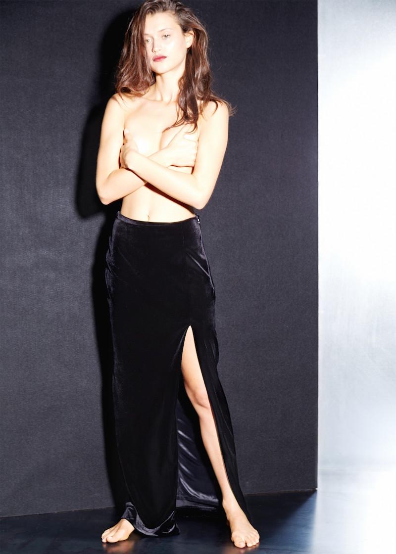 MANGO PREMIUM Cut-out Velvet Skirt