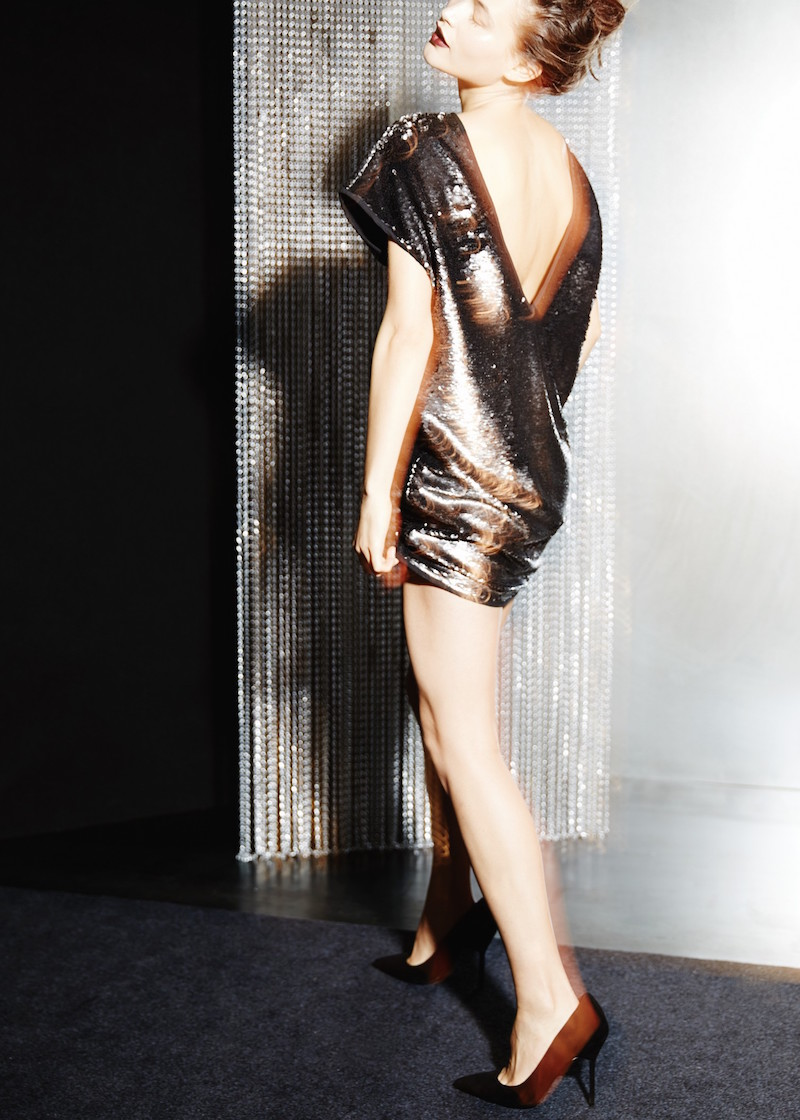 MANGO PREMIUM Sequin Shift Dress
