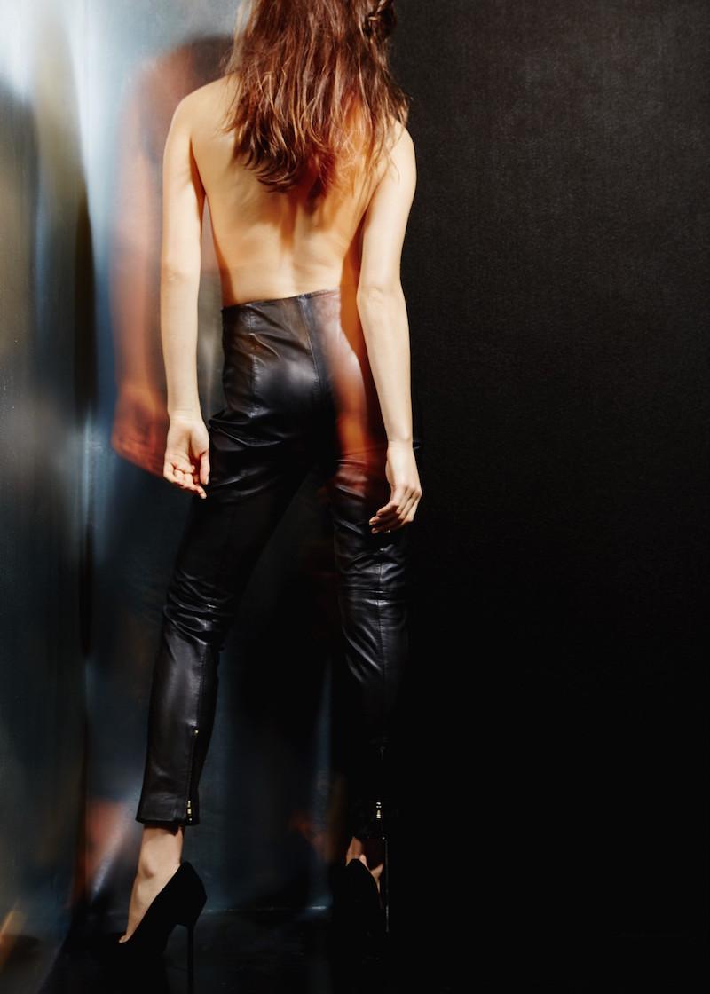 MANGO PREMIUM Slim-fit Leather Trousers