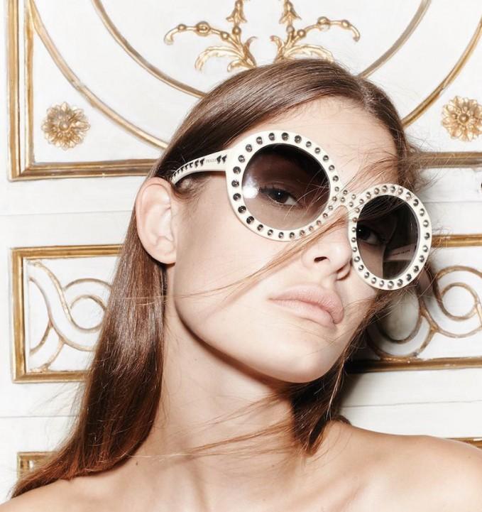 830428f3095 PRADA Studded Ornate Cat Eye Sunglasses SPR 31Q Black 172166. Prada Studded  Round-Frame Sunglasses – NAWO
