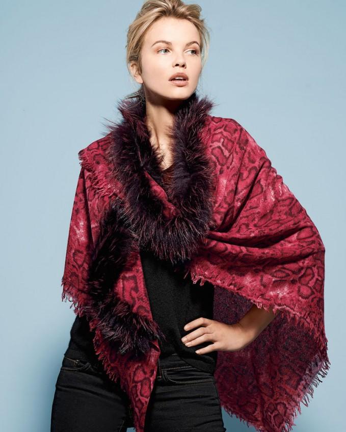 Sofia Cashmere Snake-Print Shawl with Fox Fur Trim