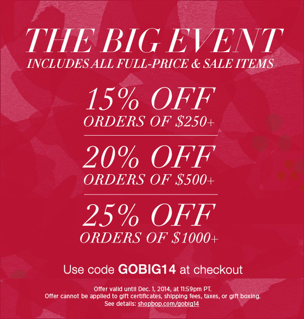 Thanksgiving and Black Friday Deals at SHOPBOP