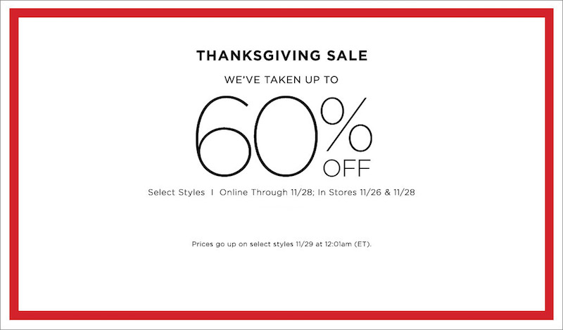 Thanksgiving and Black Friday Deals at Saks Fifth Avenue